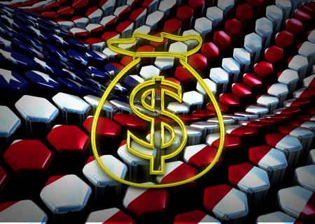 dolar: ilustraci�n dolar americano con EE.UU. bandera del tema de fondo