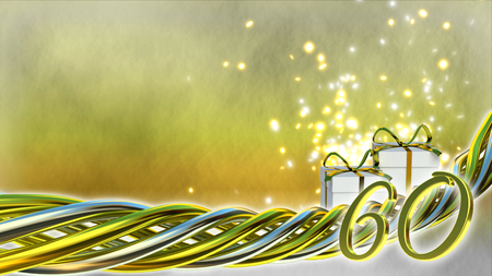 birthday concept with gifts and sparks - sixtieth birthday Banco de Imagens