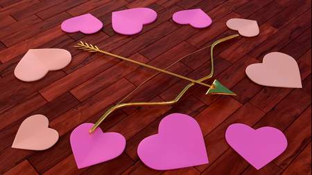 fondness: arrow and bow with heart shapes on wooden floor - 3D