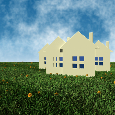3D 렌더링 그림 - 개념 부동산 가격 스톡 콘텐츠