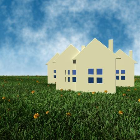 3D teruggegeven illustratie - concept vastgoedprijzen Stockfoto