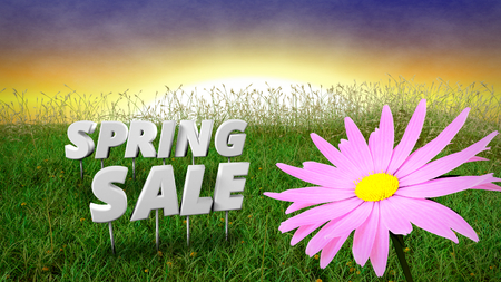 early in the evening: Spring Sale discount background template - 3D render Stock Photo