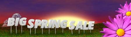early in the evening: Big spring sale  background template - 3D render