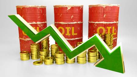 price of fuel decreases - 3D concept ilustration - red oil barrels with golden coins and green arrow photo