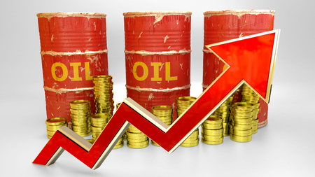 the price of fuel rising up - 3D concept ilustration - red oil barrels with golden coins and red arrow Imagens