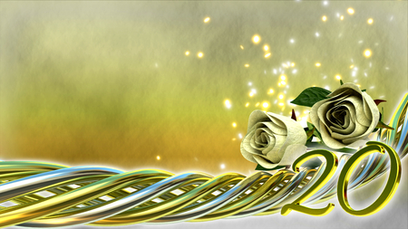 twentieth: birthday concept with roses and sparks - twentieth birthday