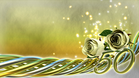 the fiftieth: birthday concept with white roses and sparks - fiftyeth birthday Stock Photo