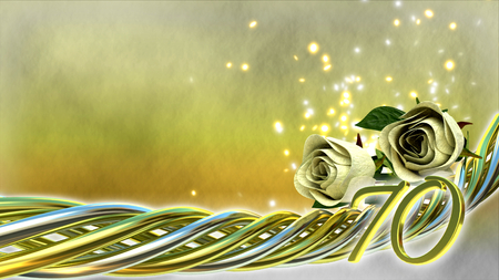seventieth: birthday concept with white roses and sparks - seventieth birthday Stock Photo