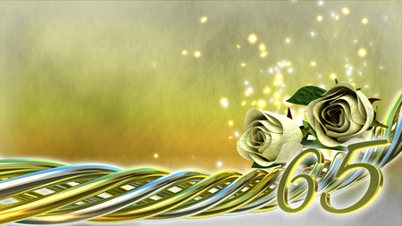 65th: birthday concept with white roses and sparks - sixty-fifth birthday Stock Photo