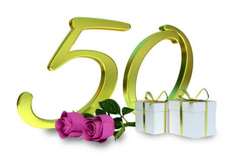 anniversaries: birthday concept with pink roses and gifts - fiftieth birthday