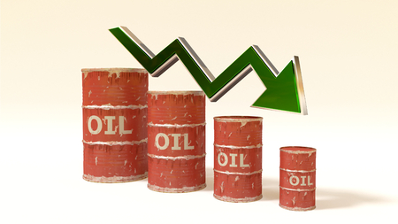price of oil decreases - 3D concept ilustration - red oil barrels and green arrow isolated on white photo