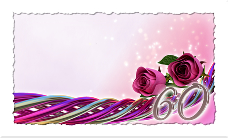 60th: birthday concept with pink roses and sparks - sixtieth birthday Stock Photo