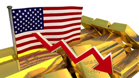 derrumbe: Gr�fico de las finanzas 3D - colapso de la moneda - d�lar americano Foto de archivo