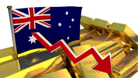 derrumbe: Gráfico de las finanzas 3D - colapso de la moneda - dólar australiano Foto de archivo