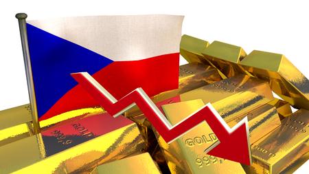 derrumbe: Gráfico de las finanzas 3D - colapso de la moneda - corona checa