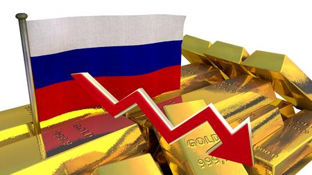 derrumbe: Gr�fico de las finanzas 3D - colapso de la moneda - Rublo ruso Foto de archivo
