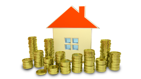 stock price losses: 3D rendered concept of real estate prices with golden coins