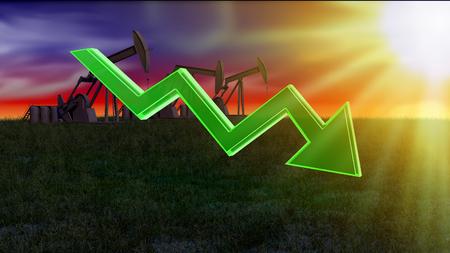 oil platforms: price of fuel decreases - 3D concept ilustration, oil platforms on background Stock Photo