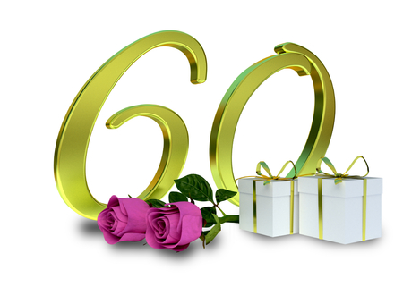 50 to 60 years: birthday concept with pink roses and gifts - sixtieth birthday