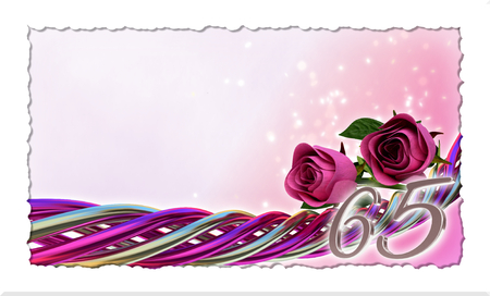 65th: birthday concept with pink roses and sparks - sixty-fifth birthday