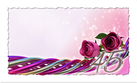 45th: birthday concept with pink roses and sparks - forty-fifth birthday Stock Photo