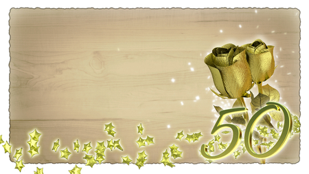the fiftieth: birthday concept with gold roses and star particles- fiftieth birthday