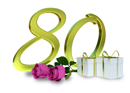 80th: birthday concept with pink roses and gifts - eightieth birthday Stock Photo
