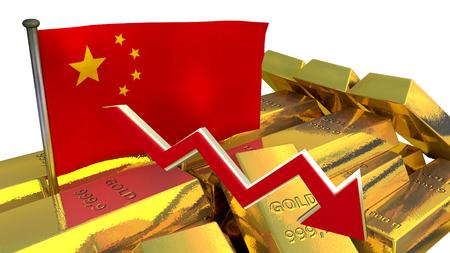 derrumbe: Gráfico de las finanzas 3D - colapso de la moneda - yuan chino