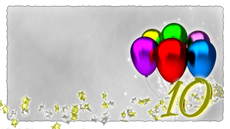 year 3d: birthday concept with colorful baloons - tenth birthday