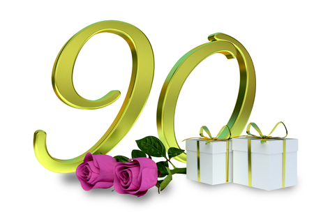 birthday concept with pink roses and gifts - ninetieth birthday