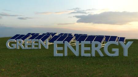 alternativ: Solar panel on the meadow - green energy concept