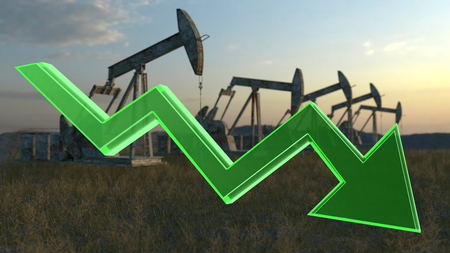 natural gas prices: oil decrease concept - number of oil wells in the meadow Stock Photo