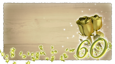 sixtieth: birthday concept with golden roses and star particles- sixtieth birthday Stock Photo