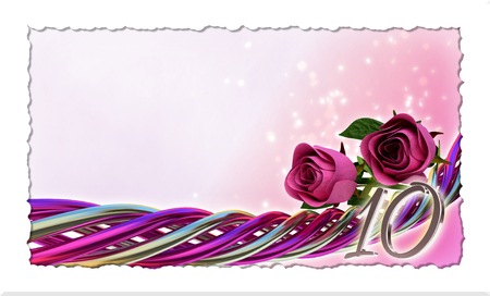 birthday concept with pink roses and sparks - tenth birthday