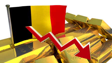 collapse: national economy concept - 3D finance graph - currency collapse -Belgian Euro