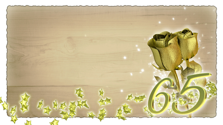 65th: birthday concept with golden roses and star particles- sixtyfifth birthday