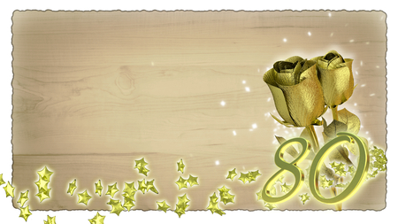 birthday concept with golden roses and star particles- eightieth birthday