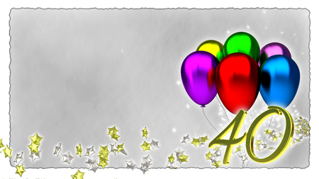 birthday concept with colorful baloons - fortieth birthday