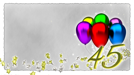 baloons: birthday concept with colorful baloons - forty-fifth birthday Stock Photo