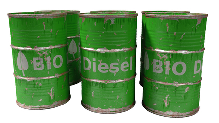 bio diesel: dirty worn scratched green bio diesel barrels isolated on white Stock Photo