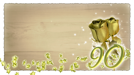 90th: birthday concept with golden roses and star particles- ninetieth birthday