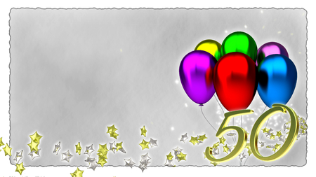 baloons: birthday concept with colorful baloons - fiftieth birthday Stock Photo