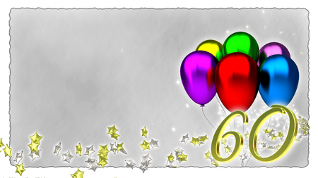 baloons: birthday concept with colorful baloons - sixtieth birthday