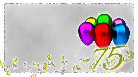 baloons: birthday concept with colorful baloons - seventy-fifth birthday Stock Photo