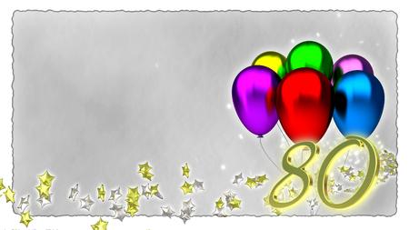 birthday concept with colorful baloons - eightieth birthday Banco de Imagens