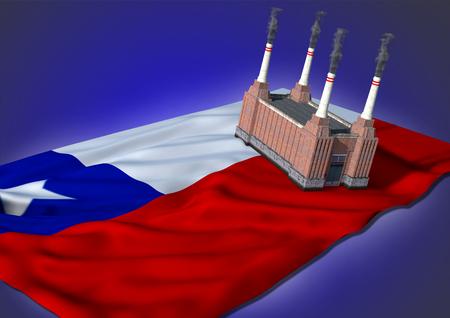 bandera chilena: nacional concepto de la industria pesada - tema de la bandera de Chile y de la f�brica en el fondo azul