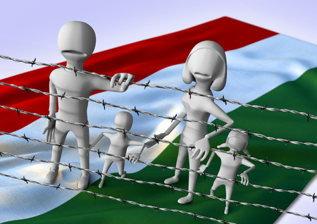 middleeast: migration to europe concept - crisis in Hungary - 3D illustration