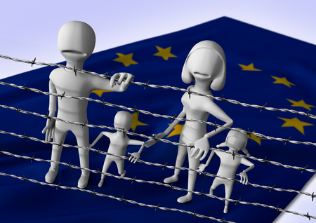 migrant: migration to europe concept - crisis in european union- 3D illustration