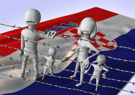migration: migration to europe concept - crisis in Croatia - 3D illustration Stock Photo