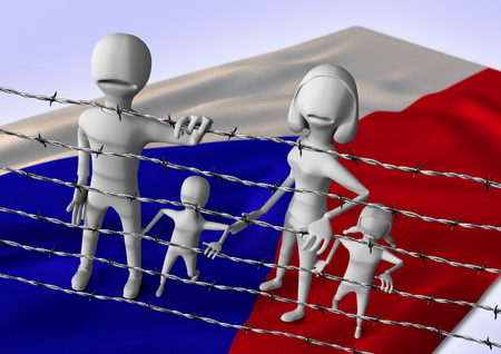 middleeast: migration to europe concept - crisis in Czech Republic- 3D illustration